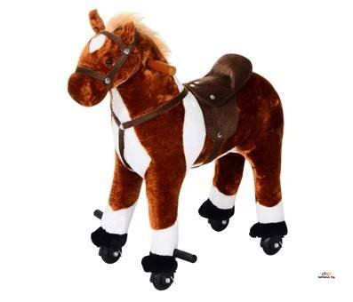 Product image of Qaba Kids Plush Ride On Toy Walking Horse with Wheels and Realistic Sounds