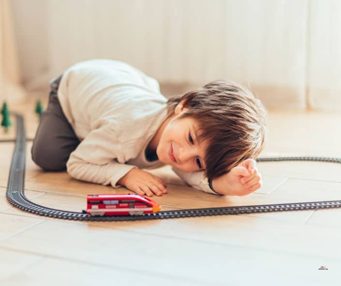 Image of boy and train