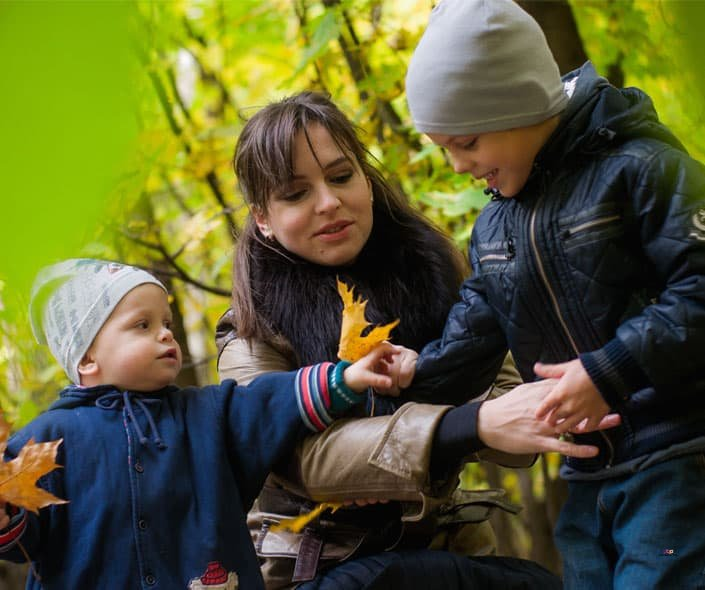 Featured image of mother and children in forest