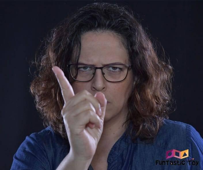 Image of angry woman warning