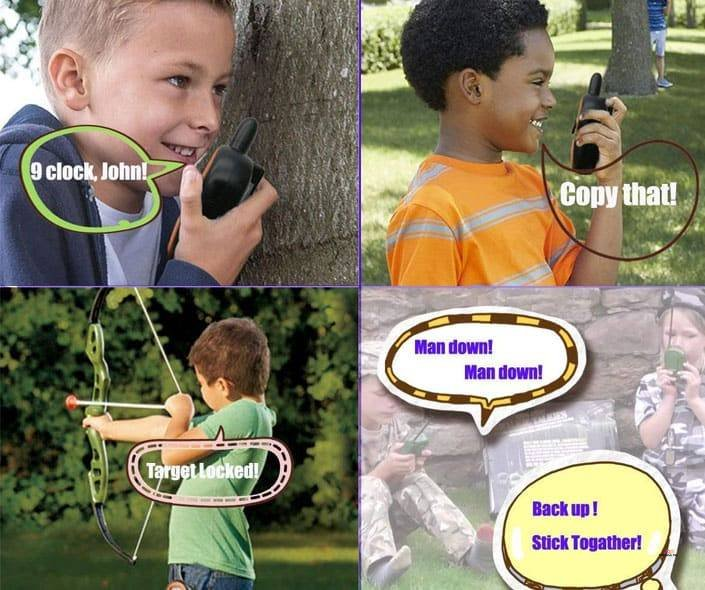 Image of children talking on walkie talkies