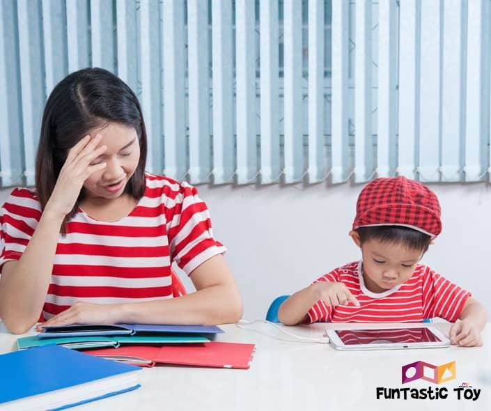 Image of mother and son with tablet