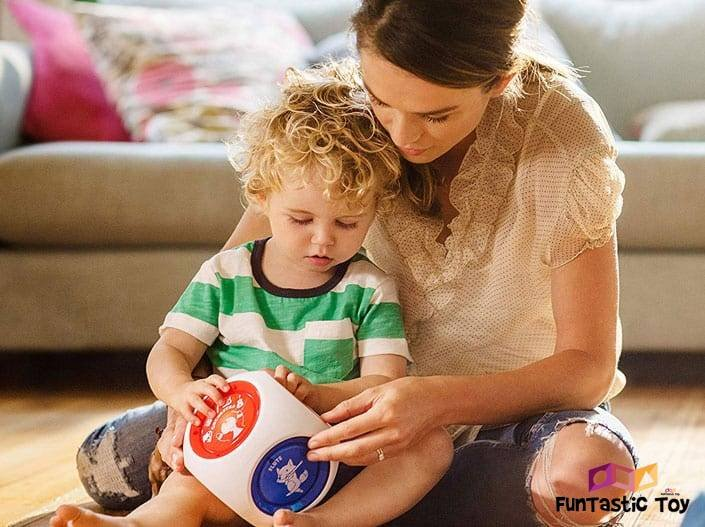 Image of cute boy playing with his mom