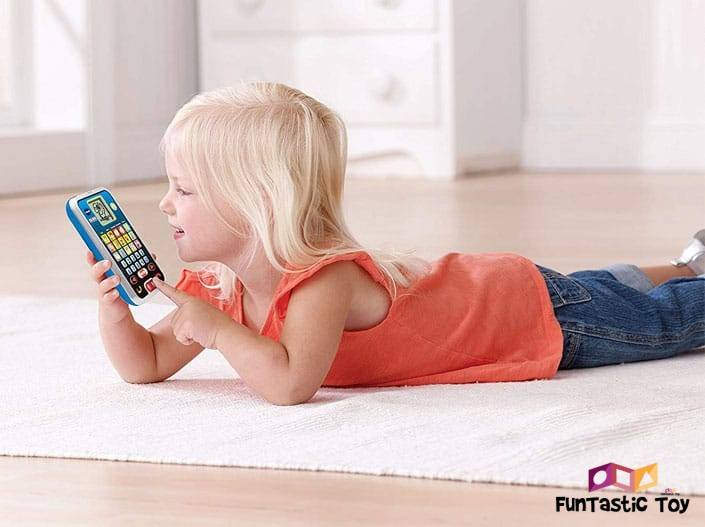 Image of girl playing with VTech Call & Chat Learning Phone