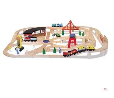 Product image of Melissa & Doug Wooden Railway Set