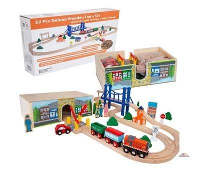 Product image of Orbrium Toys 52 Pcs Deluxe Wooden Train Set