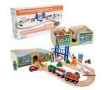 Small Product image of Orbrium Toys 52 Pcs Deluxe Wooden Train Set
