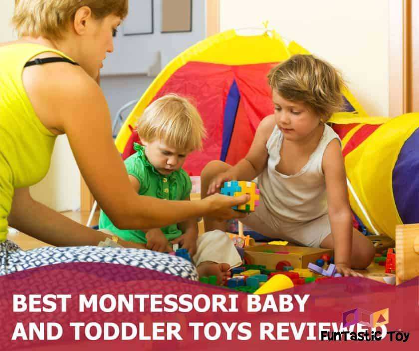 Featured image of mother and two little children playing with wooden toys