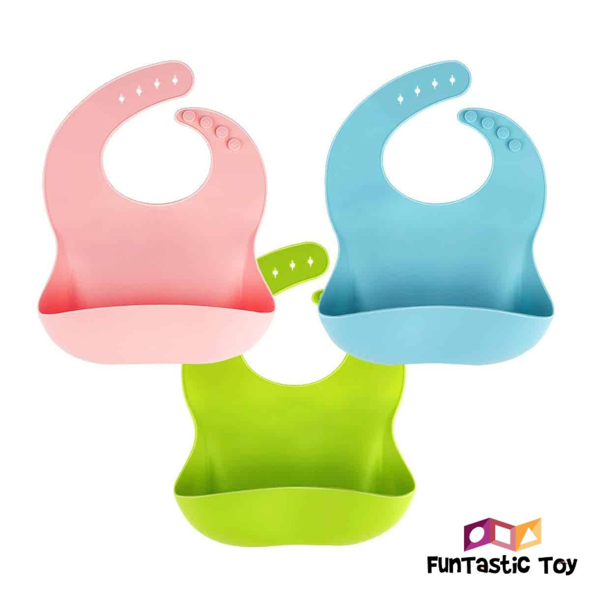 Product image of Waterproof Silicone Bib Food Crumb Catcher Blue and Red