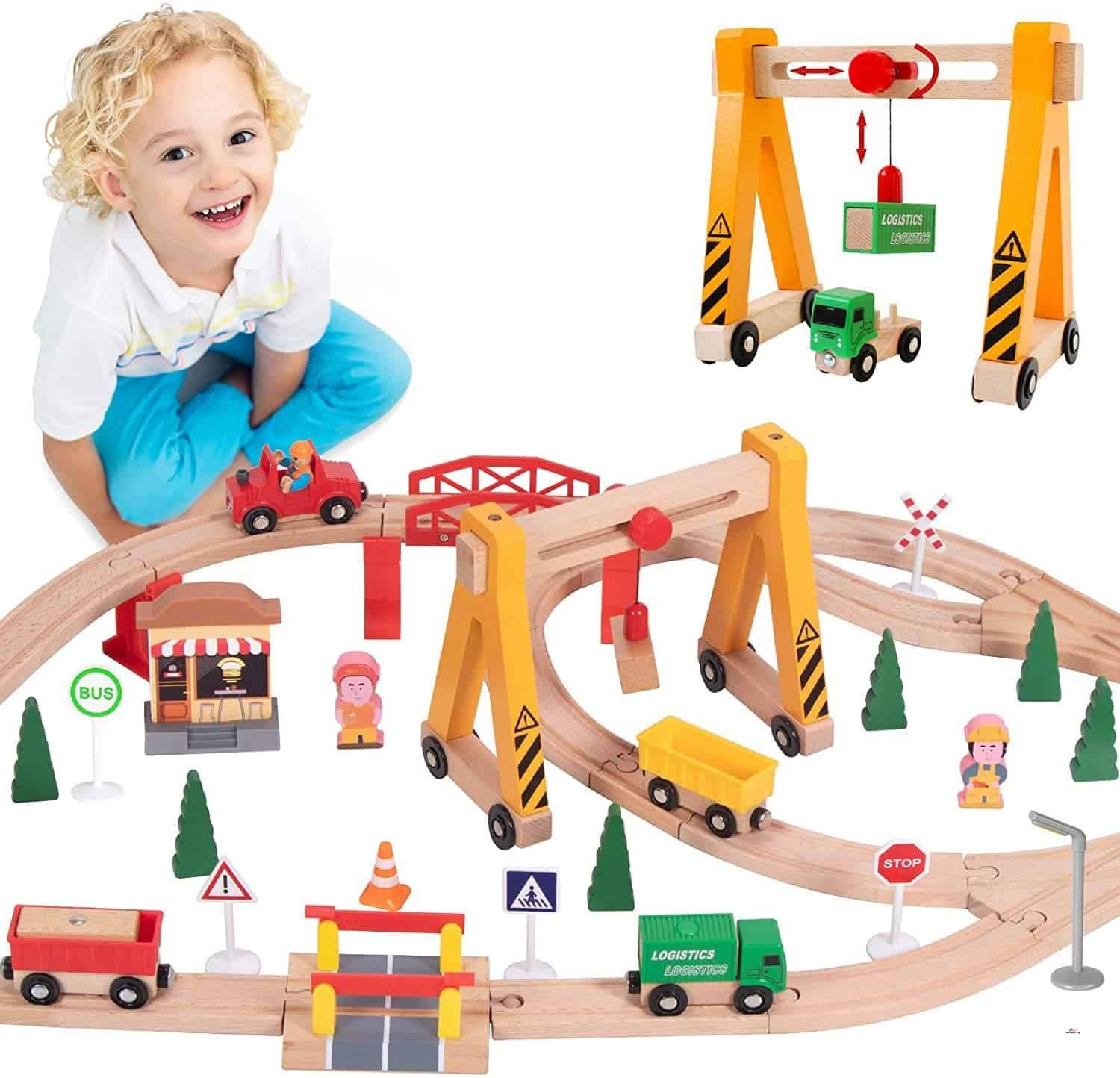 Product image of Wooden Train Tracks Full Set, Deluxe 55 Pcs