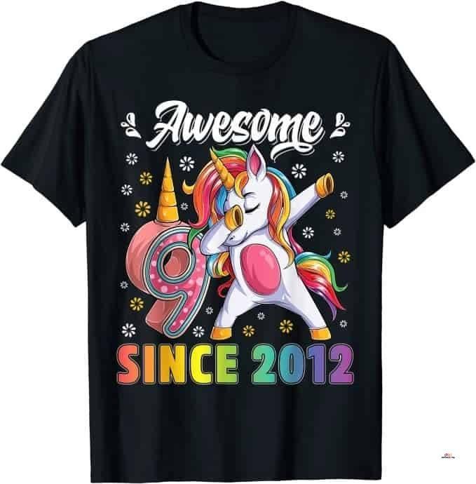 Product image of 9 Years Old 9th Birthday Unicorn Dabbing Shirt Girl